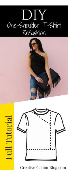Make This DIY Ruffle Shirt From An Old TShirt, Make this 1 shoulder ruffle top from an old baggy t-shirt. This step by step tshirt refashion is the cutest and easiest sewing tutorial you have to tr. Diy Fashion, Ideias Fashion, Workwear Fashion, Fashion Blogs, Punk Fashion, Petite Fashion, Fashion Fall, Fashion Fashion, Fashion Trends