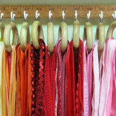 Ruler, hooks, shower hooks, and ribbon- DIY ribbon organizer