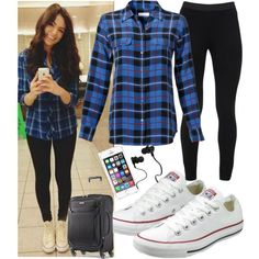 Airplane Outfit. by queenboldon on Polyvore featuring Equipment, Peace of Cloth, Converse, Samsonite and Monster