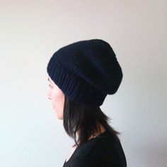 Hand Knitted Chunky Hat in Navy Blue  Slouch by naryaboutique, $24.00