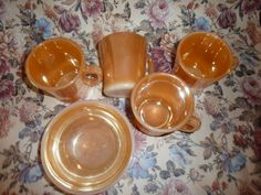 Vintage Fire King Lusterware mugs by HollyWouldFind on Etsy