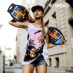 Enkeeo High Quality Caster Board Long Board Skateboard ABS Material Polyurethane Colorful Wheels For Men Women Adult Children