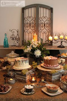rustic shower7 by Unskinny Boppy, via Flickr...like the stone cake stands