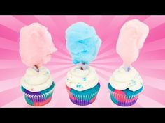 How to Make Cotton Candy Cupcakes from Cookies Cupcakes and Cardio - YouTube | I would love for someone to make these for my birthday!!!! Lol Yummy!!!