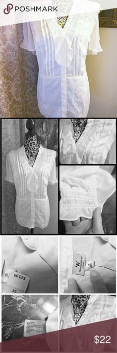 NEW NWT Womens Worthington shirt blouse 3x New brand new with tags and beautiful size 3x women's Worthington blouse pretty Ruffles on the front and then also ruched at the sleeves. Color is a light ivory I do also offer a 25% off bundle discount Worthington Tops Blouses