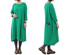 Christmas Green Dress Simple Dress Loose Dress by OurLittleDaisy, $95.00