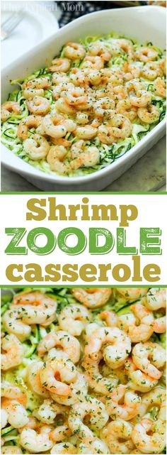 This is how you make zucchini noodles and shrimp casserole! This simple seafood dinner idea is a favorite at our house substituting vegetable noodles instead of traditional pasta. If you've never made zucchini zoodles before you are in for a real treat. Buttery and cheesy you'll love this family meal. AD via @thetypicalmom