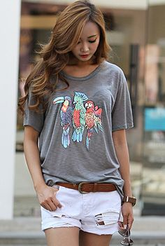 Today's Hot Pick :Tropical Birds T-Shirt http://fashionstylep.com/SFSELFAA0001355/happy745kren/out High quality Korean fashion direct from our design studio in South Korea! We offer competitive pricing and guaranteed quality products. If you have any questions about sizing feel free to contact us any time and we can provide detailed measurements.