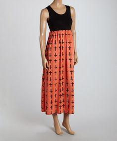 Another great find on #zulily! Black & Peach Cross Sleeveless Maxi Dress - Women #zulilyfinds