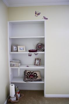 I like the idea of putting shelves in the closets and taking off the door.