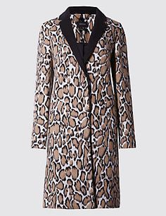 Buttonsafe™ Animal Print Coat with Wool