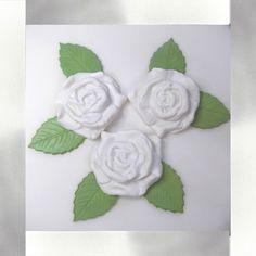 White Sugar Roses Leaves & Ribbon Topper Set wedding cake decorations 6 OPTIONS