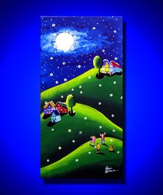 Kids Children Dog Catching Fireflies Whimsical Folk Art Original Painting via Etsy