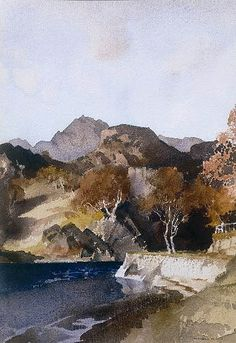 William Russell Flint - Autumn at Morar Watercolor Water, Watercolor Landscape Paintings, William Russell, Rock Waterfall, Pastel, Watercolours, Art Techniques, Painting & Drawing, Landscape Photography