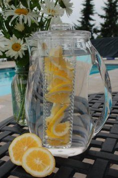 My mom has one of these, they're great!  Prodyne Fruit Infusion 93-Ounce Natural Fruit Flavor Pitcher: Amazon.com: Kitchen & Dining