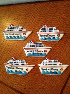 Cruise ship cookies made for a sail away wedding.