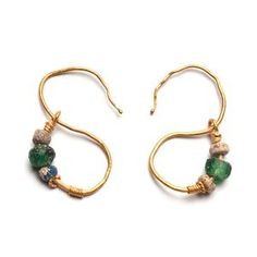 A pair of Egyptian Gold Earrings, Roman Period, ca. Century BC- Century AD * A pair of Egyptian Gold Earrings, Roman Period, ca. Egyptian Jewelry, Ancient Jewelry, Antique Jewelry, Vintage Jewelry, Viking Jewelry, Vintage Brooches, Gold Jewellery Design, Silver Jewelry, Jewelry Designer