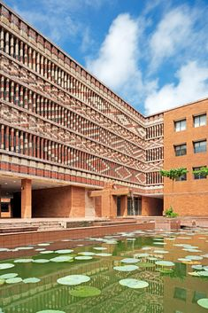 Studio Lotus creates patterend brick facade for Indian government building Brick Architecture, Indian Architecture, Agricultural Practices, Passive Design, Indian Government, State Government, Brick Facade, Solar Panel Installation, Building Exterior