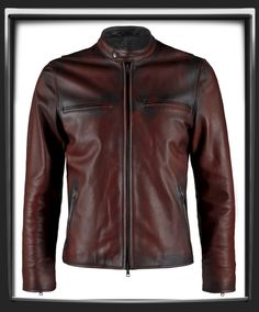 """Distressed Red Italian nappa leather with black leather detail.      This Leather Jacket was hand crafted in Italy.      Motorcycle style leather jacket.      A thing of beauty.      Also available in Black , Vintage Grey & Antique Brown      Model has a 40 """" chest and is wearing a size Medium for a vintage slim fit.    £339.00  i have one similar but not as red. i like this one"""