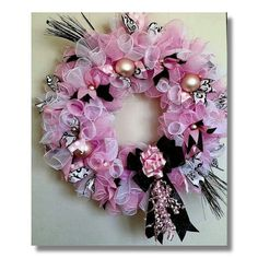 Deco mesh wreath made by me...thanks for looking