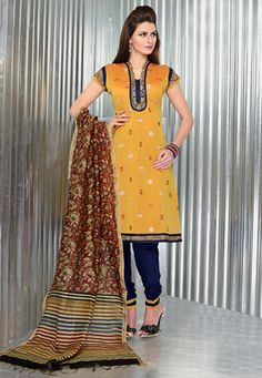 Yellow chanderi art silk floral print, resham embroidered and patch bordered kameez with dark blue cambric bottom fabric and maroon printed chanderi art silk dupatta fabric. The unstitched kameez can be customized from 36 to 42 inches. (Slight variation in color and patch border is possible. ) data-pin-do=