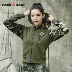 Freearmy Otoño de 2018 las mujeres Streetwear Sudadera con capucha de camuflaje con capucha + manga con cremallera sudaderas otoño militar Mujer sudaderas con capucha Plus tamaño