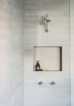Large Format Tiles in a shower area means less grout to clean! 600mm x 1200mm tile 'Esagona Ash'