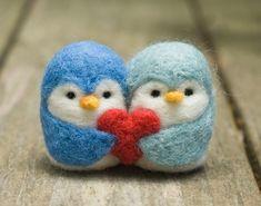 Needle Felted Penguin Love Birds by scratchcraft on Etsy Felted Wool Crafts, Felt Crafts, Felt Penguin, Needle Felted Owl, Needle Felting Tutorials, Felt Diy, Soft Sculpture, Felt Ornaments, Felt Animals