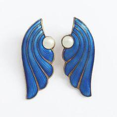 Vintage J Tostrup Norway Clip On Earrings Enamel Blue