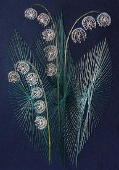 Mayflowers. String art by Russian artist Olga Voronova