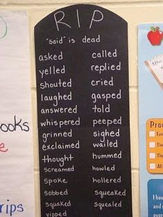 "Other ways to say ""said"" - a Prof. I had last semester actually did this when she taught high school and the results amazed her! As the school year progresses, you can also use this technique with other words that students tend to abuse in your classroom."