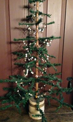 antique feather tree with button garland
