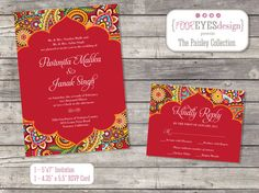 Paisley Wedding Collection - DIY Printable File (Invitation and RSVP)