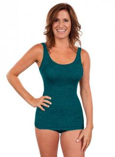 Krinkle Chlorine Resistant Scoop Neck Sheath in Storm Green | Chlorine Resistant Swimwear - Swim & Sweat.  Great for water fitness and swimming! #swimandsweat #swimsuit #swimming #waterfitness #poolworkout #krinkle