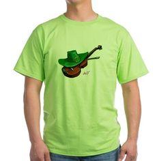 Men's St. Patrick's Day Hat & Violin Light Green T-Shirt by #MoonDreamsMusic #StPatricksDayFashion #MensFashion #Hat&Violin #LightGreenTshirt