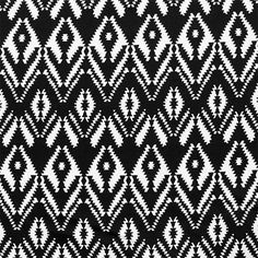 """Black White  Ethnic Diamond Cotton Spandex Knit Fabric - Super soft black and natural white ethnic arrows and diamond eye design on a cotton spandex rayon blend knit.  Fabric is very smooth, with a soft hand, light to mid weight, with a good stretch.  Eye diamond measures 2"""" for scale.  ::  $7.50"""