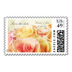 Pink and yellow roses Save the Date Stamp