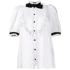 Dolce & Gabbana Dolce & Gabbana Tuxedo Blouse (5.155 BRL) ❤ liked on Polyvore featuring tops, blouses, white bow blouse, short sleeve tops, flutter sleeve blouse, bow blouse and tuxedo shirt