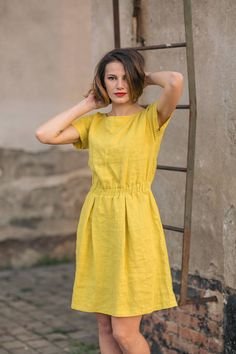 Soft linen dress. Linen dress with elastic waist. Soft linen