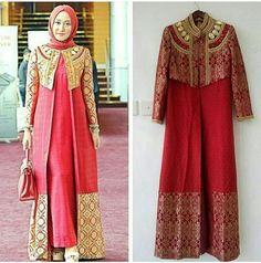 Kombinasi songket Batik Fashion, Abaya Fashion, Muslim Fashion, Fashion Dresses, Dress Batik Kombinasi, Kebaya Dress, Afghan Dresses, Muslim Dress, Royal Dresses
