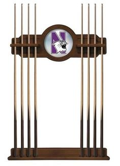 Northwestern University Cue Rack Chardonnay Finish Wood Rack
