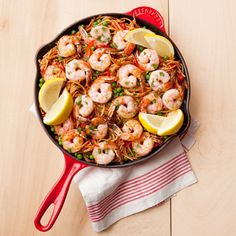 Toasted pasta takes the place of rice in this paella-like dish with shrimp and peas. From start to finish, it's a weeknight-friendly 35 minutes.