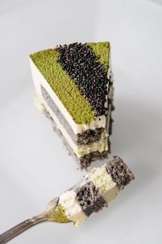 green, Japanese Matcha-Goma Mousse Cake *I really want to try this! Matcha and coconut in a cake! Asian Desserts, Köstliche Desserts, Dessert Recipes, Plated Desserts, Alcoholic Desserts, French Desserts, Green Tea Recipes, Sweet Recipes, Patisserie Fine