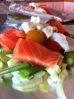 Fiskepakker med feta fra vibekesliv.no #oppskrift #laks #middag