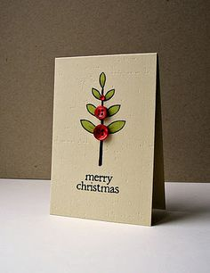 Ideas diy christmas cards for teachers holidays Button Christmas Cards, Button Cards, Homemade Christmas Cards, Xmas Cards, Homemade Cards, Handmade Christmas, Holiday Cards, Christmas Crafts, Merry Christmas
