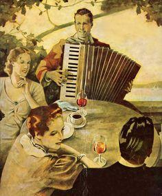 Accordeonist aan de thee tafel