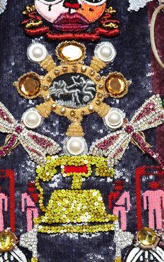 Clocktopia Embroidered Dress by Mary Katrantzou for Preorder on Moda Operandi