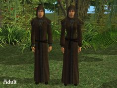 This is the Medieval Traveler Robe.  It was the best winterwear I could find for Cave Sims.  I don't really think people wore robes in the Ice Age, but at least your Sims look warm in these.