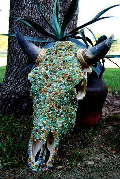 Cow Skull, Mixed Stone, via Etsy.