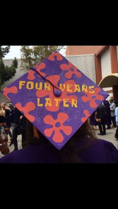 "Funny spongebob reference ""four years later"" for graduation cap decoration"